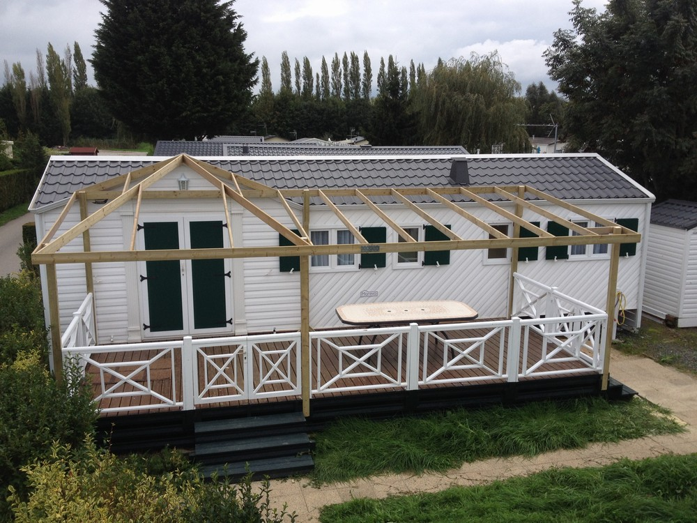 Terrasse En Bois Couverte Pour Mobil Home Modele Bache Terrasse
